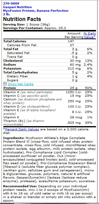 Gaspari Nutrition MyoFusion Hydro Supplement Facts