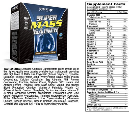 Dymatize Super Mass Gainer Supplement Facts