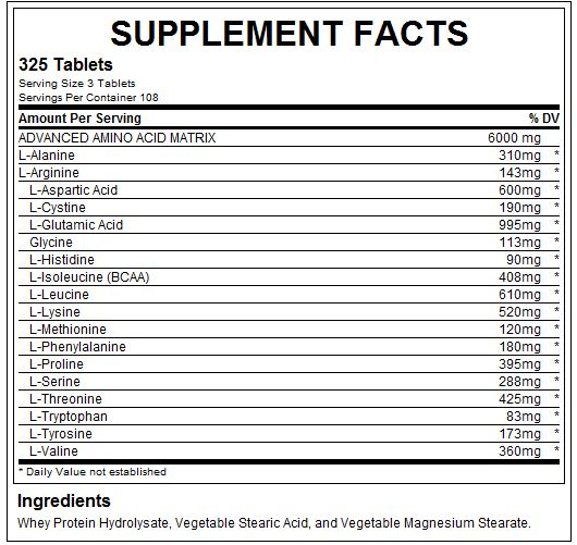 Nutrabolics Amino Power 2000 Supplement Facts