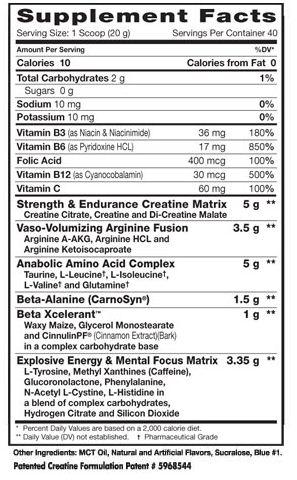 Dymatize Xpand Xtreme Supplement Facts