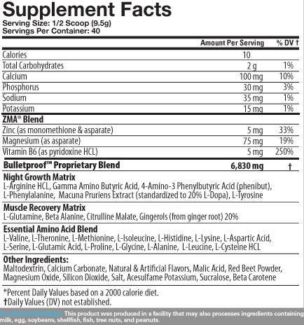 BulletProof Supplement Facts