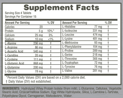 Twinlab Amino Fuel Tab 1000MG Supplement Facts