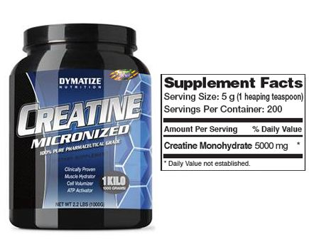 Dymatize Creatine Monohydrate Supplement Facts