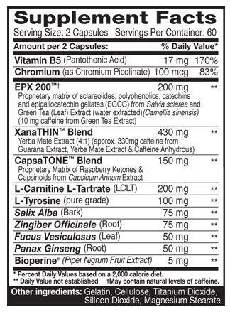 Dymatize Dyma-Burn Xtreme Supplement Facts