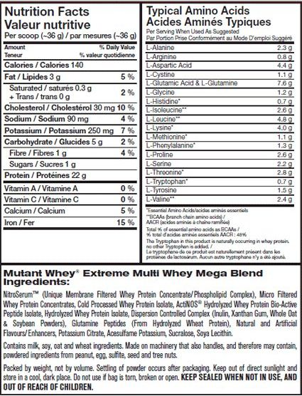 Mutant Whey Supplement Facts