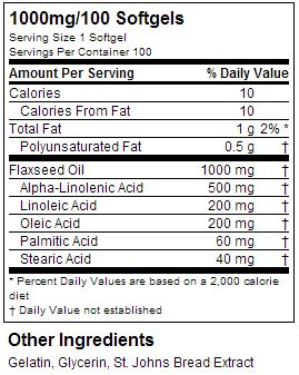 Optimum Nutrition Flaxseed Oil Softgels Supplement Facts