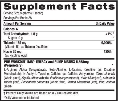 BPI Sports 1MR Supplement Facts