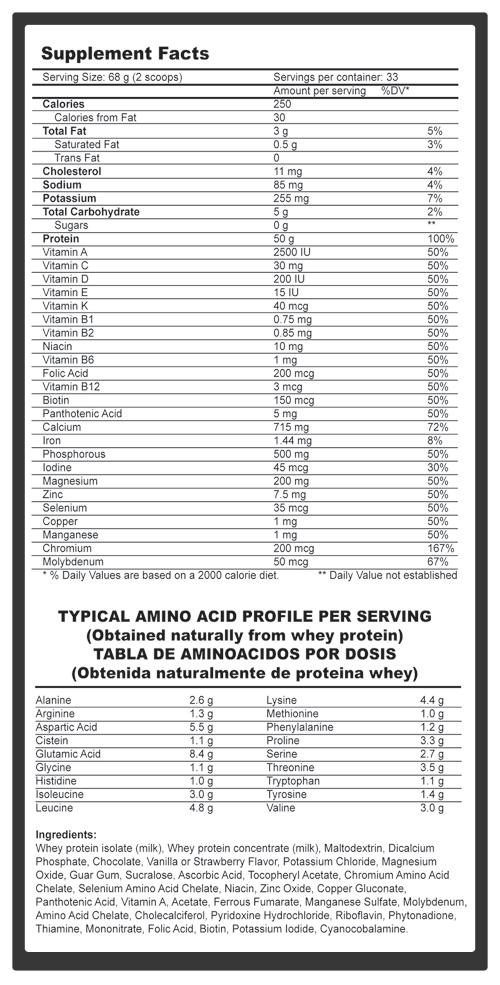 Fitnesspro Superwhey Prostar 100% Whey Protein Supplement Facts