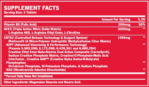 BSN Nitrix Supplement Facts