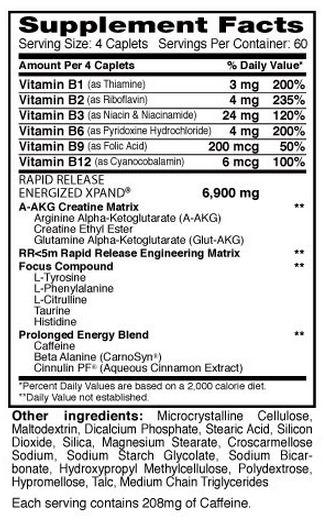 Dymatize Xpand Energized Pills Supplement Facts