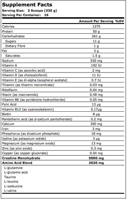 MuscleTech Premium Mass Gainer Supplement Facts