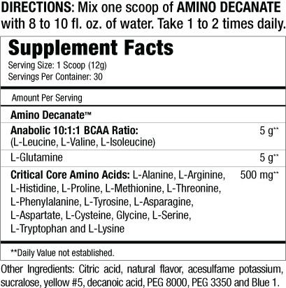 Musclemeds Amino Decanate Supplement Facts
