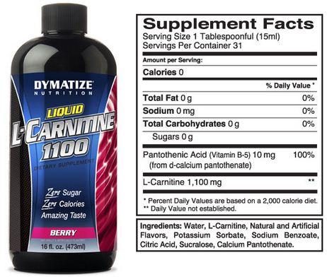 Dymatize Liquid Carnitine Supplement Facts