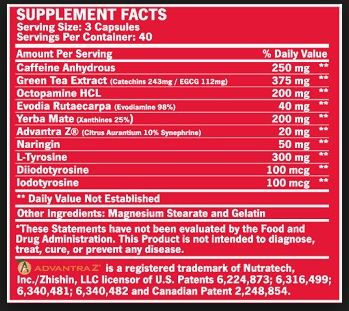BSN Thermonex Supplement Facts