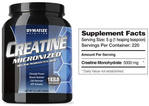 Dymatize Creatine Micronized Supplement Facts
