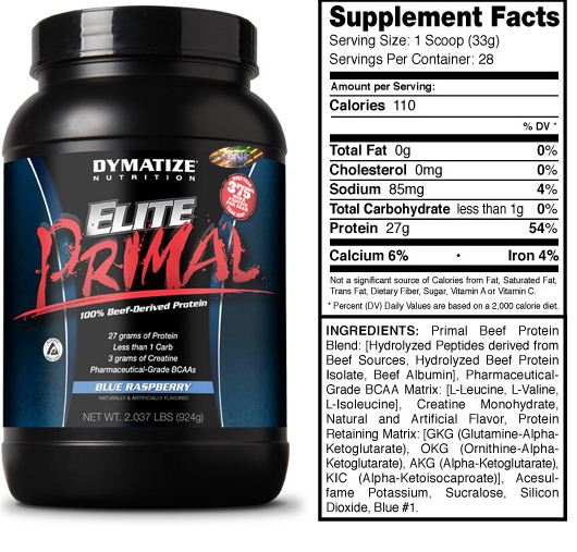 Dymatize Elite Primal Supplement Facts
