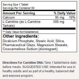 BSN Carnitine DNA Supplement Facts