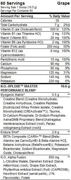 NO XPLODE Supplement Facts