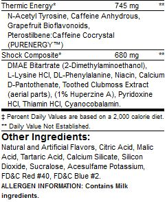 BSN NO XPLODE Nutrition Facts