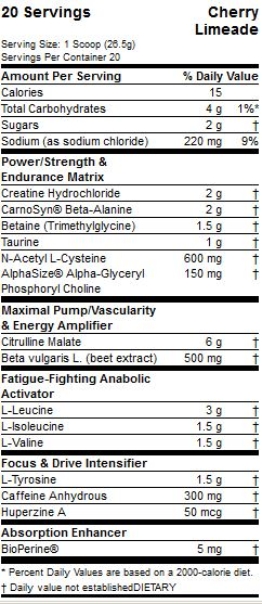 Pre JYM Supplement Facts
