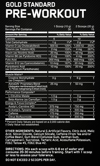 ON Gold Standard Pre Workout Supplement Facts