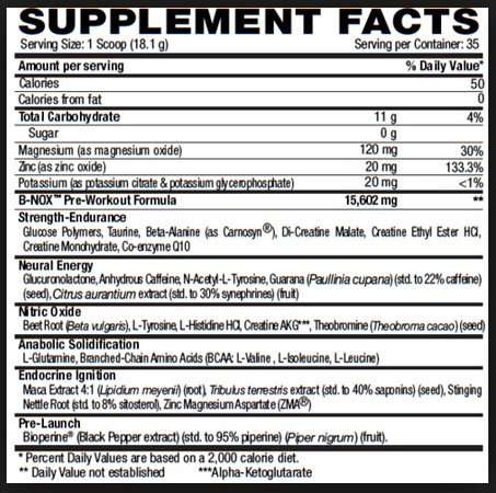 Betancourt B-Nox Androrush Supplement Facts