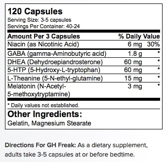 PharmaFreak GH Freak Supplement Facts