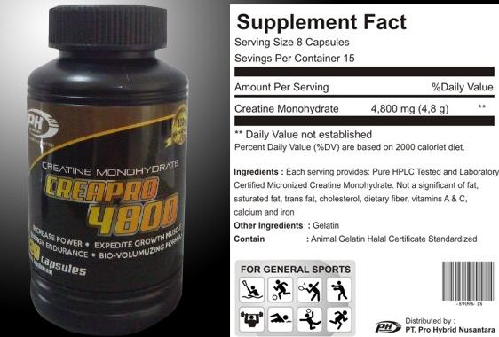 PH Nutrition Creapro 4800 Creatine Monohydrate Supplement Facts