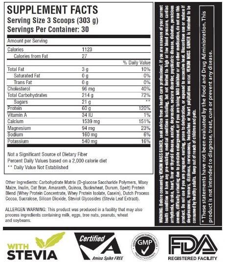 Suplemen Venum Mass Gainer Supplement Facts