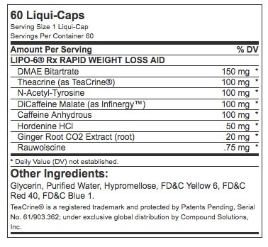 Nutrex Lipo-6 RX Supplement Facts