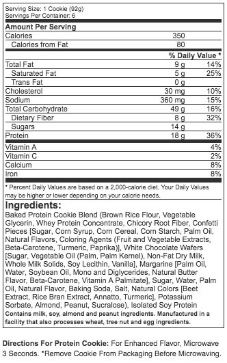 Muscletech Protein Cookies Supplement Facts